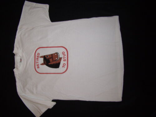 New Mens Brown Horse White T-Shirt L Fruit of the Loom