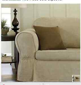 SUEDE Two-Piece Sofa Slipcover COLOR CHESTNUT NEW