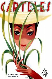 156-Cuban-Fashion-poster-Pinup-Model-w-Sugar-Cane-Decor-Decoration-art
