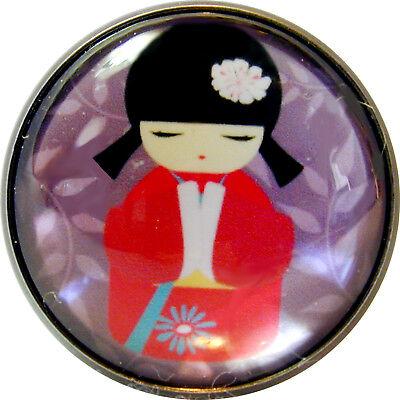 Japanese Kokeshi Doll Crystal Dome Button 13