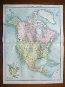 NORTH-AMERICA-USA-CANADA-ORIGINAL-COLOUR-MAP-FROM-1922