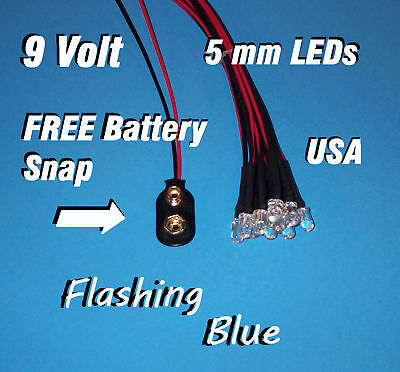 10 X Led - 5mm Pre Wired Leds 9 Volt Blue Flashing 9v