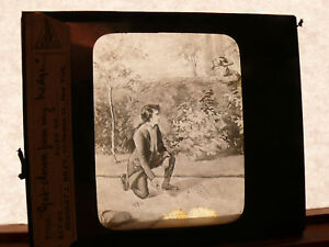 ca-1890-Orig-Magic-Lantern-Glass-Slide-NAPOLEON-As-Boy-GET-DOWN-FRON-MY-HEDGE