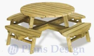 Traditional Round Picnic Table Benches Plans ODF04 eBay