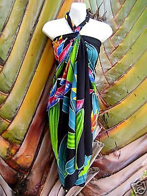 Sarong Handpainted Bird of Paradise Hawaiian Pareo Beach Pool Wrap Dress