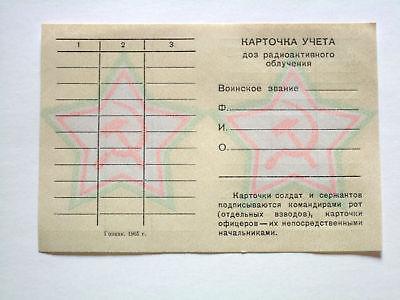 Ausweisblatt Dokument Blanko Dosis Radiaktiv Strahlung UDSSR CCCP  Sowjet Armee
