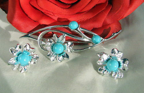 Vintage Sarah Coventry Teal Flower Set CAT RESCUE