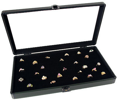 Aluminum Glass Top Jewelry Display Case W/72 Ring Pad