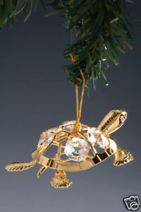 TURTLE ~24K GOLD PLATED FIGURINE WITH BEST~*~AUSTRIAN CRYSTALS~*~