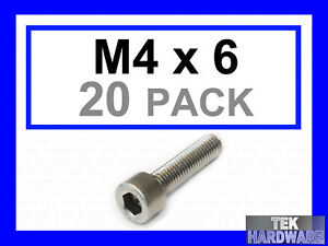 M4-x-6mm-Stainless-Socket-Caps-Allen-Bolts-20-Pack