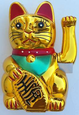 FENG SHUI LUCKY MONEY CAT MOVE HAND STATUE FIGURINE