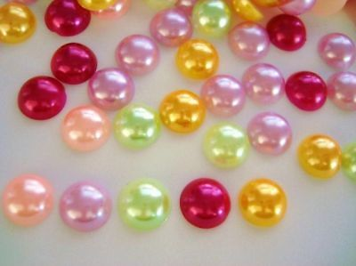 50 Assorted Color Half Pearl Pearly Flatback/craft/jewel/round/bead B78-1cm-mix