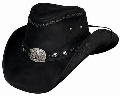 Bullhide Leather Hat With Concho And Strap - Thunderstruck - Black
