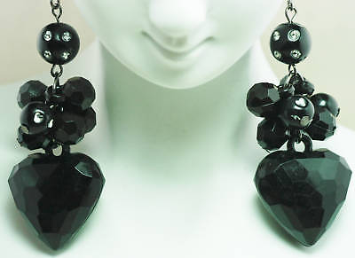 Vintage Style Dangling Black Lucite Heart Crystal RS Beads Earrings