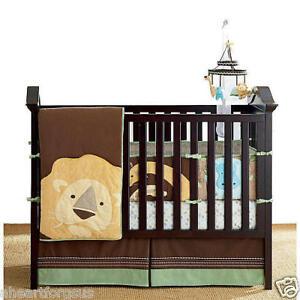 New Amy Coe 4 Pc Zoology Crib Bedding Set Zoo Animals Lion