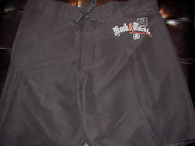 Size 34 Hook & Tackle Swimsuit Board Shorts Multi Black With White & Red $40