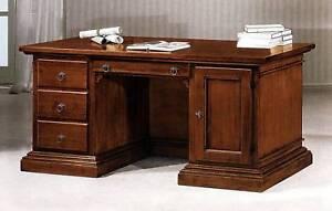 scrivania legno massello colore noce xstudio soggiorno ufficio ... - Soggiorno Noce Massello