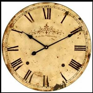 c French Antique Style Kitchen Office Lounge Wall Clock Large Round Shabby Chic