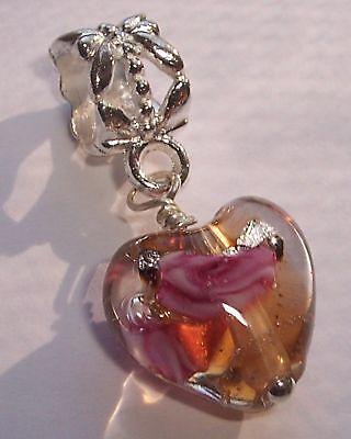 Gold Rose Heart Flower - Pink Gold Murano Glass Heart Rose Flower Dangle Charm for European Bead Bracelet