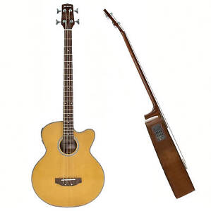 New 4/4 Right-Handed Electro Acoustic 4 String Bass Guitar, Natural Gear4music