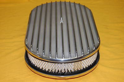 "15"" Polished Aluminum Oval Finned Breather Cleaner Air Filter Fit Chevy Ford"
