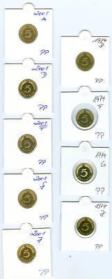 BRD  5 Pfennig 1974 bis 2001 PP komplett  123 Stück!