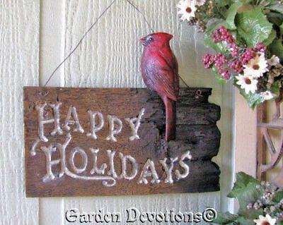 Cardinal Welcome Sign Happy Holidays Christmas Nice