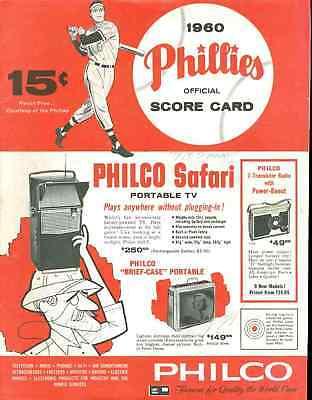 1960 PHILADELPHIA PHILLES PROGRAM SIGNED BY 10 JSA