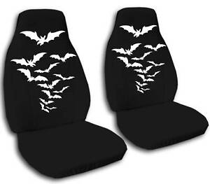 Image Is Loading 2 Front Black Velvet Seat Covers With Bats
