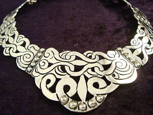 VINTAGE-DESIGN-TAXCO-MEXICAN-STERLING-SILVER-FLORAL-FLOWER-BEAD-NECKLACE-MEXICO