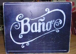 Bathroom Signs Spanish spanish restroom bano hp wood sign, mexican bathroom sign, hand