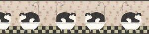 Warren-Kimble-BATHROOM-FAT-CAT-Wallpaper-Border-AP75656