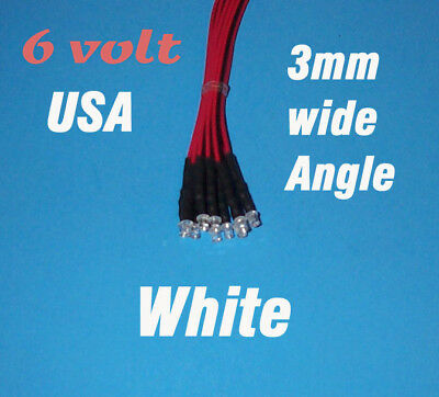 10 X Led - 3mm Pre Wired Leds 6 Volt Wide White 6v Usa
