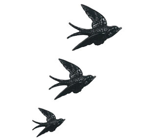 BLACK SWALLOWS BIRD POTTERY WALL HANGING /PLAQUE 3 Set