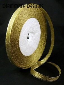 1-x-25-Yard-Roll-of-6mm-Gold-Metallic-Organza-Ribbon-Craft-Christmas-SB95