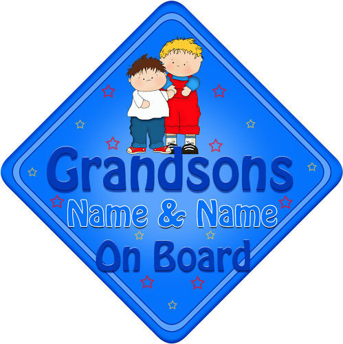Personalised Baby On Board Car Sign Grandsons New Blue!