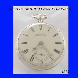 Rare-Silver-Fusee-KW-Crewe-Slow-Beat-Pocket-Watch-1873