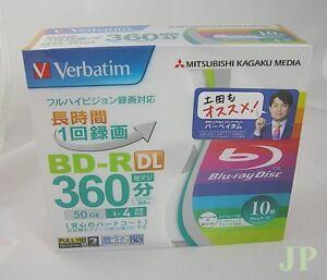 10 Verbatim Blank Blu-ray Discs 50GB BD-R DL 4x bluray