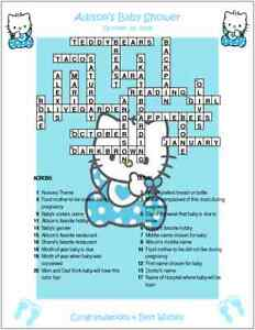 Hello kitty custom crossword baby shower puzzles for Backyard party decoration crossword