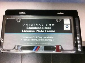 bmw oem chrome m stainless steel license plate