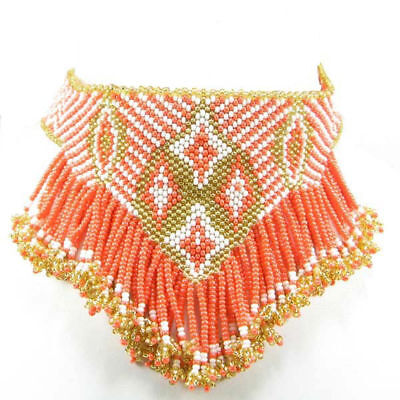 Orange Golden White Seed Beaded Native American Style Necklace