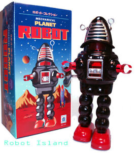 Planet Robot Tin Toy Robby the Robot Windup Black
