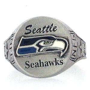 Nfl seattle seahawks hand painted pewter ring sz 12 ebay for Sell gold jewelry seattle