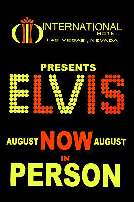 King of Rock: Elvis Presley at International Hotel Banner Poster Circa 1969