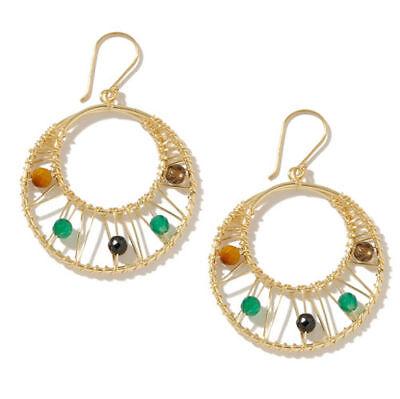 Technibond Multi Natural Gemstone Dangle Earrings Tiger Eye Quartz Silver