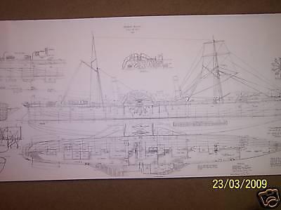 sidewheel steamer fergus/dare ship boat model boat plan