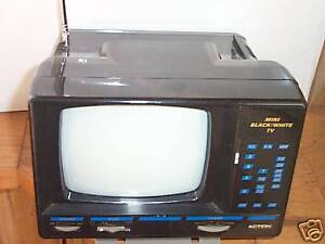 """ACTION MINI TELEVISION,WITH AM/FM, PORTABLE 5"""" INCH BLACK AND WHITE"""