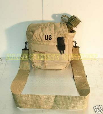NEW 2 QT Collapsible Canteen w/ NBC Cap + Tan 2 Quart Cover w Sling US Military