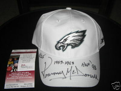 TOMMY MCDONALD EAGLES,OKLAHOMA,HOF JSA/COA SIGNED HAT