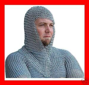 Metal-Medieval-Knight-CHAINMAIL-Chain-Mail-HOOD-Helmet-COIF-Armor